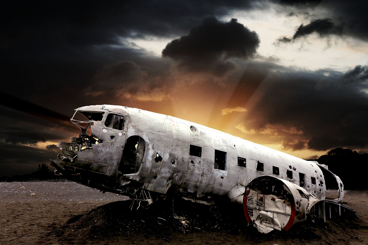 Airplane Crash Landing with dark skies