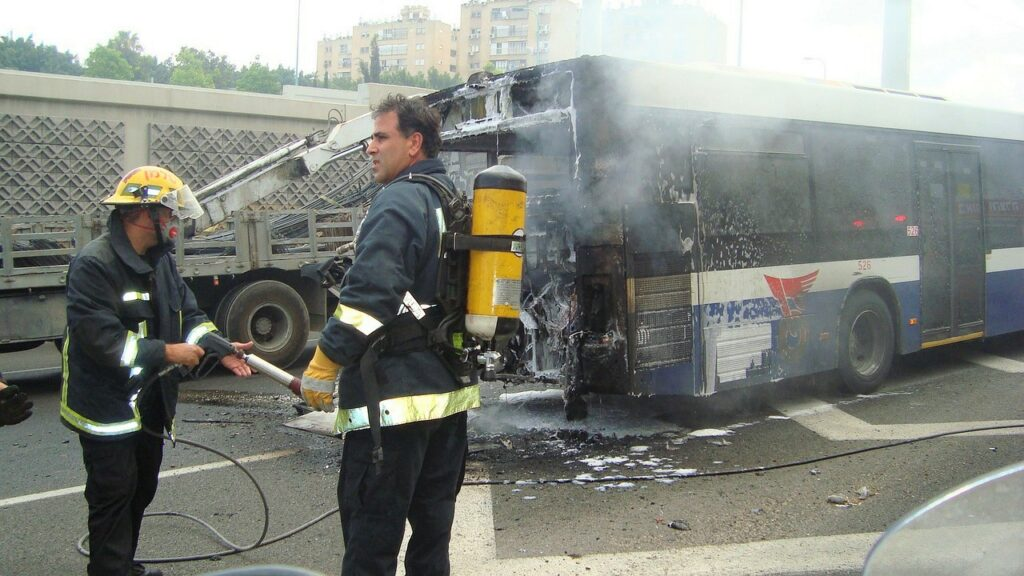 Bus crash with first responders