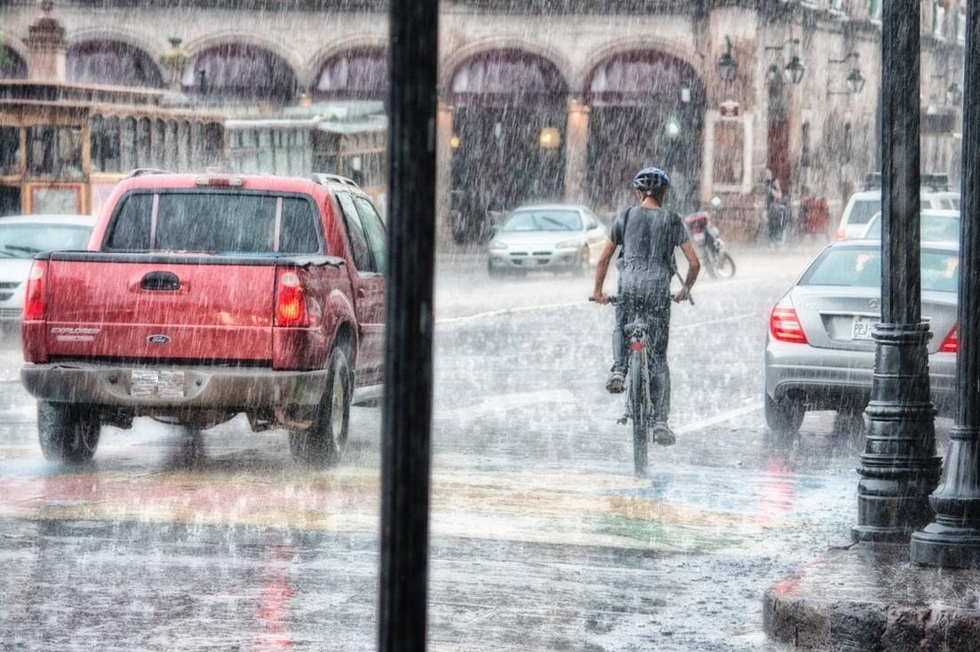 Bicycle in street in rain