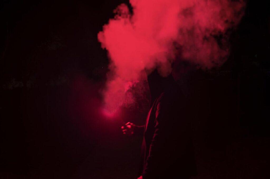 Smoke against dark background