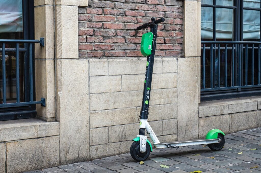 Scooter against wall